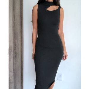 Lulu's black open back cutout bandage midi dress